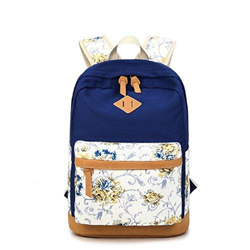 Fashion Mädchen Schulrucksack Damen Canvas Rucksack Teenager Baumwollstoff Schultasche Outdoor Freizeit Daypacks mit Schicker Lace Blau 1