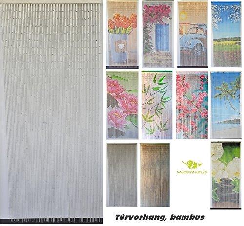 Bambusvorhang Türvorhang, Insektenschutzvorhang, 90cm x 200cm mit Aufhängeleiste, Innen und außen, mehrere Modelle, von MadeInNature® (Modèle 1 Classique Blanc)