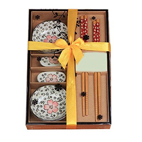 Genmine® Sushi Set Japanische Geschirr Set Keramik Sushi Untertasse Set für zwei Personen in Geschenk box,Rot, Grün, Blau (Rot)