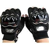P-Biker Motorcycle Riding Gloves Half Cut Black Colour Biking & Racing M(Black_Medium)