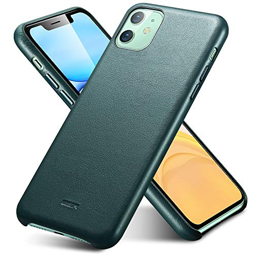 ESR Premium Echtleder Hülle kompatibel mit iPhone 11 (2019) - Dünnes, leichtes, kratzfestes Vollleder Case [unterstützt kabelloses Laden] - Schutzhülle für iPhone 11 mit Mikrofaserinnenfutter- Grün