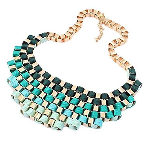 deley-retro-metallizzato-nastro-gradiente-cluster-girocollo-collare-maxi-collana-bavaglino-blu