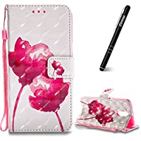 Motorola Moto G4 Case, Moto G4 Plus Leather Case, Slynmax 3D Printing Red Rose Design Flip Folio PU Leather Wallet Case Inner Soft TPU Cover with Stand Function Hand Strap Card Holders Magnetic Closure Ultra Thin Book Style Shock Resistant Protective Case