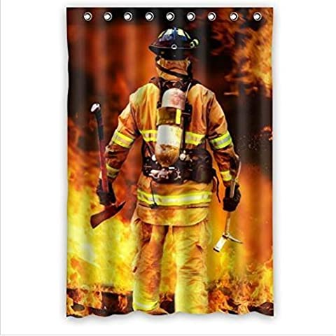 DIY NEW Shower Curtain Best Seller Curtain-Firemen And Fire Design Fire Department Custom 100% Polyester Waterproof Shower Curtain 48 x 72