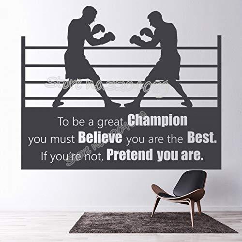 woyaofal Ali Quote Wall Decal Seien Sie EIN großer Champion, den Sie glauben müssen, Sie sind der B-Aufkleber Boxkampf in der Ringwand 189x154cm
