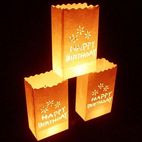 10er Set Happy Birthday Weiße Papiertüten Geburtstag Lichttüten Kerzentüten Dekorative Laternen von Kurtzy - Mittelstück Kunsthandwerk Dekorationen - Feuerresistent - Große Laternen - Mit Teelichter Verwenden (Normal oder LED) - Rustikale Dekoration (Geburtstag-platten Platz)