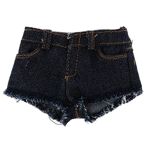 1/6 Raw Edge Denim Shorts Jeans for 12 inch Female Figures Body Model Toy (Raw-edge-denim-shorts)
