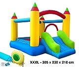 Izzy Hüpfburg Bogen Komplett-Set Outdoor aufblasbar TÜV/GS Gebläse 250W Springburg Spielburg Rutsche Draußen Kinder-Party Spring-Schloss Bouncer (XXXL Super Castle - 305x230x218cm)