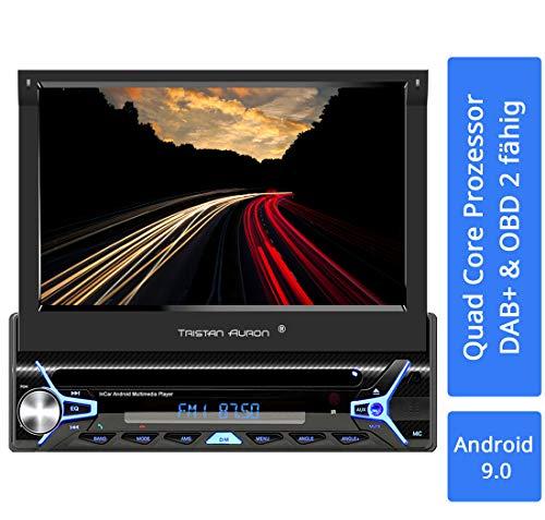Tristan Auron BT1D7022A Android 9.0 Autoradio I 7\'\' Touchscreen Bildschirm, GPS Navigation, Bluetooth Freisprecheinrichtung, Quad Core Prozessor, Mirrorlink, USB, SD, OBD 2, DAB+ I 1 DIN
