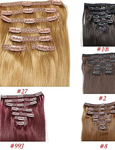 ZQ 100g 7pcs/lot Brazilian Straight Hair Lace Clip In Hair Extensions #1B #4 #10 #27 #613 Soft Remy Clip In Hair Pieces , 100g/pack-20 inch