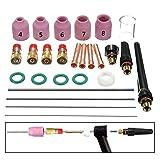 Rokoo 26 Unids / set Tig Welding Torch Boquilla Boquilla Tungsten Gas Lens WL20 Kit para TIG WP-17/18/26