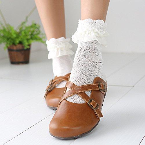 ZHANGJIANJUN Herbst Frauen Kawaii Prinzessin Weiss Schwarze Spitze Lolita Socken Retro Rüschen Nette Damen Rüschen Flower Socken, 1.