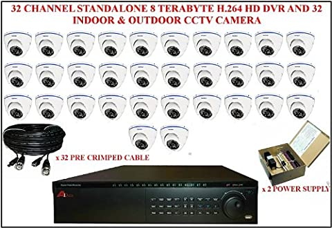 TC66- APOLLO 32 CHANNEL 8 TERABYTE H.264 STANDALONE HD DVR WITH 32 INDOOR & OUTDOOR CCTV SECURITY CAMERA
