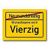 Herz & Heim® Riesiges PVC Ortsschild Zum 40. Geburtstag mit Wunschname 70cm x 50cm