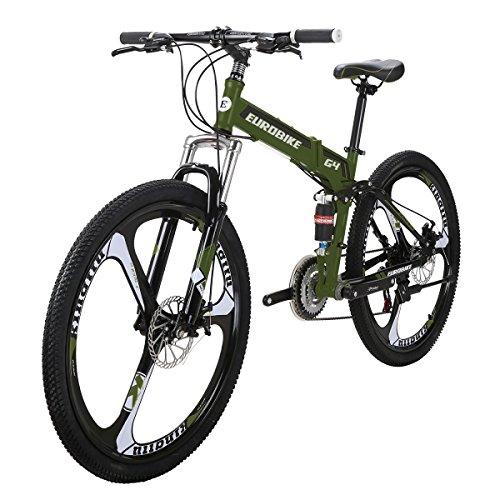 51WOXf23tLL. SS500  - Eurobike Folding Bike G4 21 Speed Mountain Bike 26 Inches 3-Spoke Wheels MTB Dual Suspension Bicycle