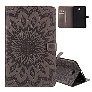 Aeeque® Galaxy Tab A6 10.1 Leather Case, Simple [Grey Sunflowers] Pattern and Premium PU Leather Folio Flip Function Magnetic Wallet Tablet Cover for Samsung Galaxy Tab A 10.1