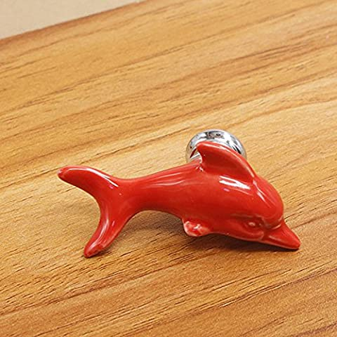 FBSHOP(TM) 5PCS Red Lovely Dolphin Shape Ceramic Knobs Cupboard/Drawer/Door Knobs