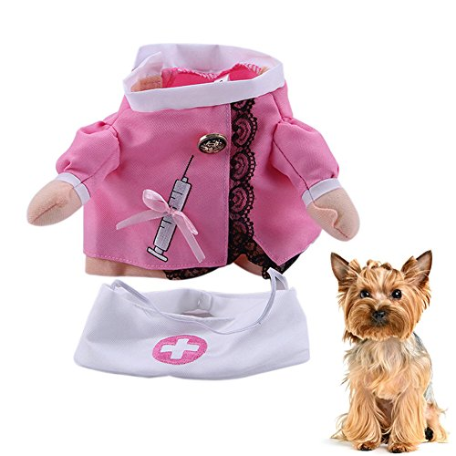 lzndeal Pet Cat Dog Nurse Cosplay Clothes Halloween Cool Cute Costume Funny Coat Party ()