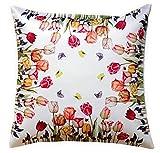 Raebel OHG Apolda Kissenhülle 40x40 cm Weiß Tulpen Bunt Kissenbezug Kissenplatte Frühling Kissen