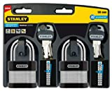 Stanley 81031363502 Candado de Seguridad 24/7 Laminado con Arco estándar, Negro, Metálico, 50 mm
