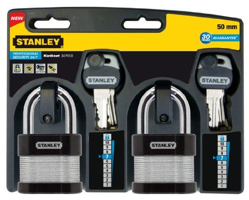 Stanley S742-006 Candado de seguridad 24/7 laminado con arco estándar, Negro, Metálico, 50 mm