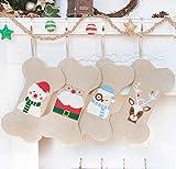 LUBOT Nikolausstrumpf Haustier Hund Dog Christmas Stocking Weihnachtsstrumpf Deko Kamin Nikolausstiefel zum befüllen un