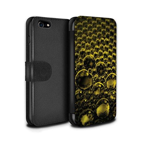 Stuff4 Coque/Etui/Housse Cuir PU Case/Cover pour Apple iPhone 7 / Rouge Design / Bulles/Gouttelettes Collection Jaune