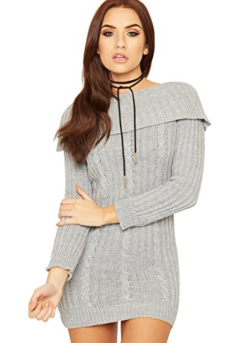WEARALL Damen Lurex Kabel Gestrickt Jumper Kleid Damen Bardot Weg Schulter bodycon - Hellgrau - 40-42 (Lurex-sweater-kleid)
