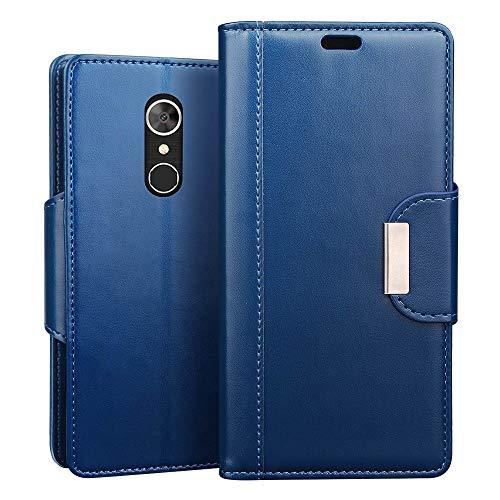 RIFFUE alcatel 5 Hülle, Handyhülle alcatel5, Retro PU Leder Flip Case Brieftasche mit Magnetverschluss, Standfunktion, Ultra Weiche Klapphülle für alcatel 5 (5,7 Zoll) - Blau