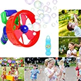 FOONEE 2-in-1-Blasenpistole und Handventilator, elektrisch, für Kinder mit Zwei Arten von Düsen, Seifenschale, Seifenschale, Seifenblasen-Flasche – Kinder-Luftpistole, Luftblasen-Ventilator