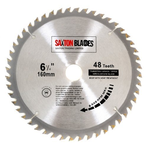 Saxton TCT Circular Wood Saw Blade 160mm x 20mm x 48T for Festool TS55 Bosch Makita etc Fits 165mm Saws