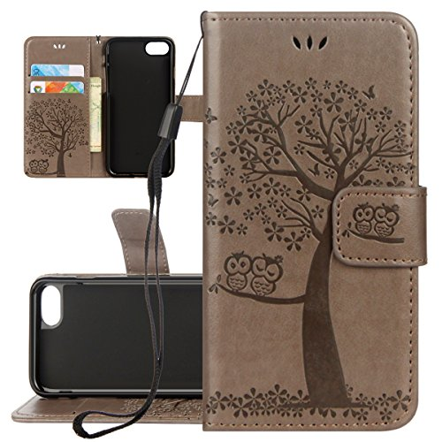 Custodia iPhone 6 Plus, ISAKEN Custodia iPhone 6S Plus, iPhone 6 Plus Flip Cover con Strap, Elegante borsa Albero Design in Sintetica Ecopelle Sbalzato PU Pelle Protettiva Portafoglio Case Cover per A Gatto: grigio
