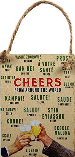 Cheers aus der ganzen Welt-Fun Mini Metall Hänger Dangler Schild 6,5cm x 9cm