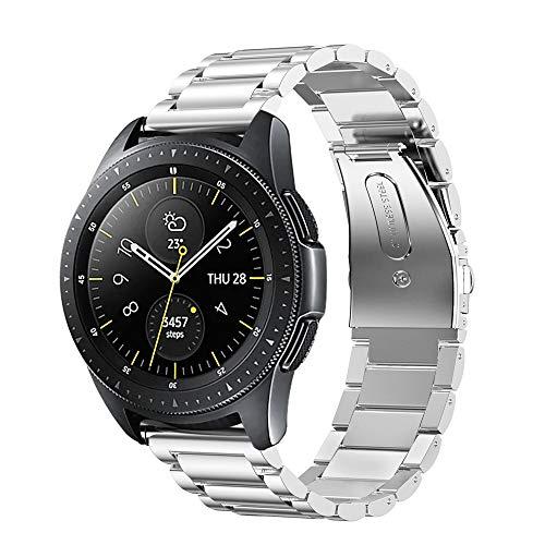 Fintie Armband kompatibel mit Galaxy Watch 42mm, Galaxy Watch Active/ Active2 40mm/44mm, Gear Sport, Gear S2 Classic - Edelstahl Metall Uhrenarmband Ersatzband mit Doppelt Faltschließe, Silber