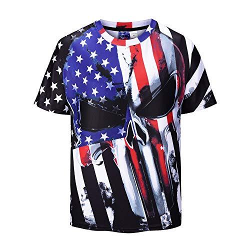 T-Shirts Sommer T-Shirt Digital Skull Bedrucktes T-Shirt Street Youth Strickhemd XL Schwarz Und Weiß -