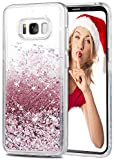 Galaxy S8 Hülle, Wuloo Samsung S8 hülle glitzer Mode kreatives Design Fließende Flüssigkeit schwimmt Luxus Funkeln s8 Hülle samsung für Mädchen Kinder s8 hülle transparent (Rose Gold)