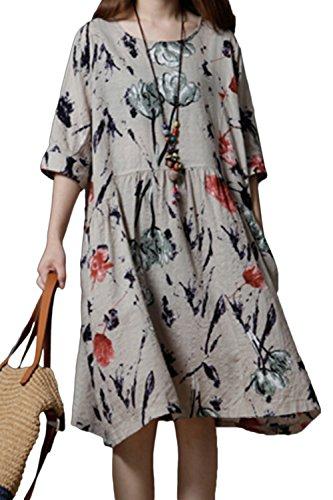 Yulinge Femme Vintage Robe Été Lin Coton Chic Boheme Florale Longue De Soiree Midi Robes Beige L