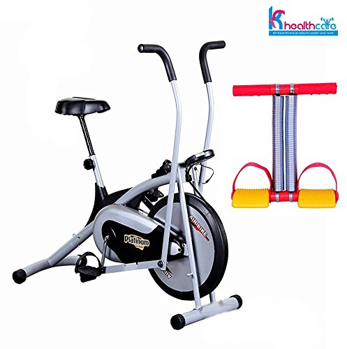 Body Gym Air Bike Platinum | Exercise Cycle | for Weight Loss at Home | Bonus Tummy Trimmer for Stomach Exercise | Fitness Bike With Abdominal Exerciser | By KS Healthcare  available at amazon for Rs.6990