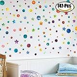 Wand Aufkleber Set, Outgeek 147Pcs Selbstklebende Wandtattoo Entfernbare Bunte Sterne Kreise Home Decor