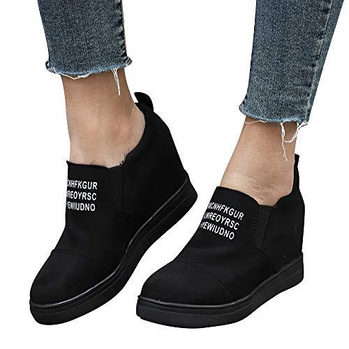 TianWlio Stiefel Damen Mode Stiefeletten Letter steigende Keile Schuhe Kurze Stiefel Black 37