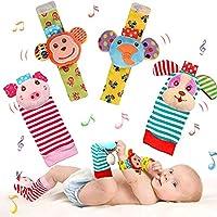 مجموعة جوارب اطفال ناعمة مزودة بخشخيشة، مصنوعة من القطن والقطيفة، العاب للاطفال الرضع، العاب حيوانات ناعمة تنموية تصدر اصوات خشخشة قرد وفيل (4 قطع)