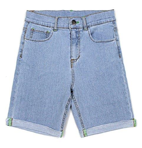 Bienzoe Mädchen weiche Hohe Taille Dehnbar Jeans Shorts Rein blau Größe