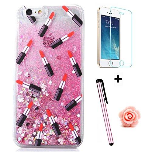 Tebeyy Cover per iPhone 6/6S, femminile con glitter liquido,   elegante, creativa, rigida, protettiva con stelline scinitllanti + pellicola proteggi schermo + tappo antipolvere a fiorellino  della pol lipstick,Pink