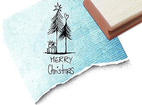 STEMPEL - x17b 3 - Weihnachtsstempel - Geschenke unterm Tannenbaum mit Merry Christmas - Textstempel Motivstempel Bildstempel von zAcheR-fineT