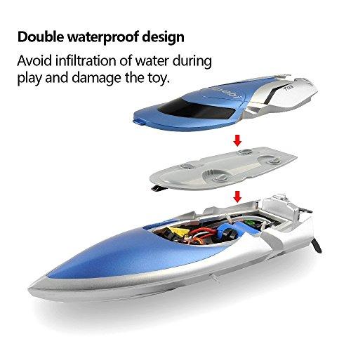RC Boot High Speed Boot 2,4 GHz 20MPH mit Kapsel Standard Funktion Fernbedienung Spielzeug für Jungen mit Extra Batterie (Blau Weiss) - 2
