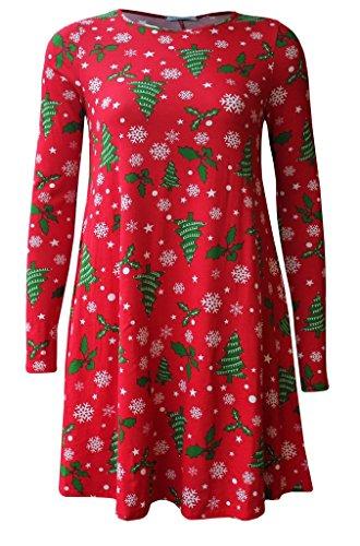 Boutique Damen Skater Kleid Xmas tree red
