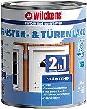 2in1 Türen und Fensterlack weiss inkl. Pinsel von E-Com24 zum Auftragen und 1 Paar Nitrilhandschuhe (2 in 1 750 ml glänzend)