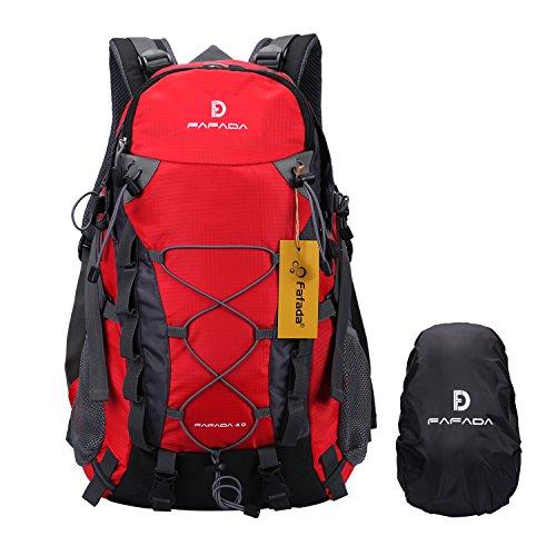 Imagen de fafada 40l unisex  de senderismo viaje marcha del deporte casual escalada trekking con cubierta de lluvia impermeable roja