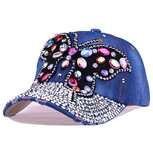 AIMICONG Cap Strass Frau Cowboy Baseball Cap Schmetterling Muster Gorras Weiblich Glas Diamanten Hip Hop Hut B