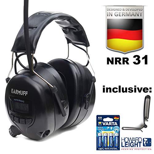 """BLACK 31dB Original \""""EAR-MUFF\"""" mit 8 Senderspeicher - Extra robuster Radio Kapsel Gehörschutz Kopfhörer mit SmartPhone und MP3 Anschluss inkl. AUX Kabel, 4x VARTA Batterien & Gürtelclip"""